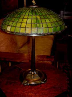 Glass and pottery black river mission arts and crafts tiffany parasol stained glass table lamp item l64 16 parasol table lamp aloadofball Gallery